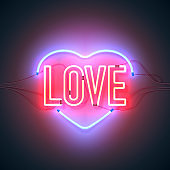 neon sign love heart red blue