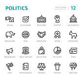 Politics - Pixel Perfect line icons with captions
