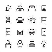 Furniture - outline icon set