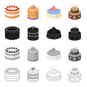 A festive cake and other types of dessert. Cake set collection icons in cartoon black monochrome outline style vector symbol stock illustration web.