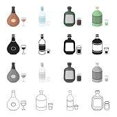 Chocolate liqueur, absinthe, alcohol, vodka, herbaceous liquor. Alcohol set collection icons in cartoon black monochrome outline style vector symbol stock illustration web.