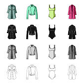 Women's coat, short jacket, swimsuit, classic coat clothes. Women's clothing set collection icons in cartoon black monochrome outline style vector symbol stock illustration web.