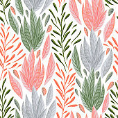 Seamless pattern with marine plants, leaves and seaweed
