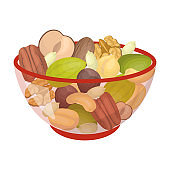 A mixture of different kinds of nuts. Different nuts single icon in cartoon style vector symbol stock illustration web.