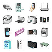 Smart home appliances cartoon icons in set collection for design. Modern household appliances vector symbol stock web illustration.