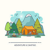 Tent and campfire in forest or wood
