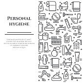 Personal hygiene line banner. Set of elements of shower, soap, bathroom, toilet, toothbrush and other cleaning pictograms. Line out. Simple silhouette. Editable stroke. Vector illustration