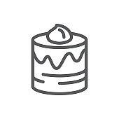 Layered glazed round cake pixel perfect icon with editable stroke isolated on white background.