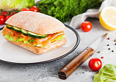 Fresh healthy salmon sandwich with lettuce and cucumber on the plate on white stone background. Breakfast snack. Fresh tomatoes, dill and lemon.