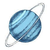 Hand drawn Uranus planet