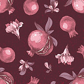 Seamless pattern with hand drawn pomegranates