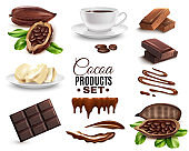 Realistic Cocoa Products Set