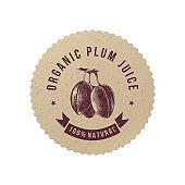 Organic plum juice paper emblem
