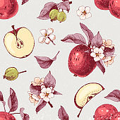 Seamless pattern with hand drawn apple fruits and flowers
