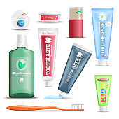 Dental Care Products Realistic Set