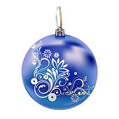 Beautiful realistic New Year 3D glassy blue ball with reflects and winter pattern isolated on white background. Traditional decoration for a Christmas tree. Vector illustration.