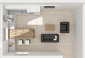 Kitchen interior 3D rendering top view