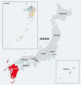 japan region kyushu administrative and political map