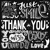 Unique thank you card with hand drawn lettering and calligraphy with many phrases and words. Vector illustration