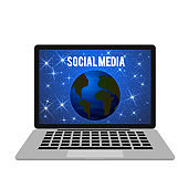 Planet Earth in space on the laptop screen. Social media vector illustration. Social network and communication concept. Design template for bloggers, websites, apps, etc.
