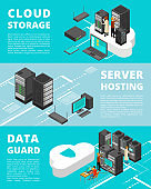 Business data protection. Network equipment and telecommunications. Server database storage, data center vector banners