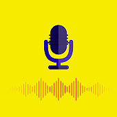 Microphone icon Vector illustration for posters, banners