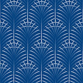 Art deco palm leaves geometry arch blue seamless pattern