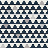 Blue and grey triangle seamless vector pattern