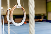 Close-up of Gymnastic Rings in an Empty Gym