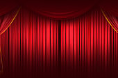 Red curtain. Stage Curtain. High quality computer animation. Clo