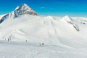 Ski slope at Hintertux Zillertal in Austria - panorama