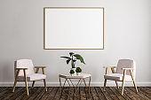 Modern room with empty billboard