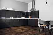 Contemporary black kitchen interior
