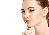 Woman beauty face portrait isolated on white with healthy skin.