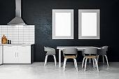Modern kitchen interior with poster