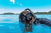 Mature Woman taking vacation snorkel selfie