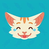 Cat emotional head. Vector illustration of cute kitty shows nicker with tears emotion. Laugh out loud emoji. Smiley icon. Chat, communication. White cat with red stripes in flat cartoon style.