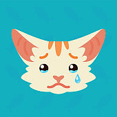 Cat emotional head. Vector illustration of cute kitty shows sad emotion. Crying emoji. Smiley icon. Print, chat, communication. White cat with red stripes in flat cartoon style on blue background.