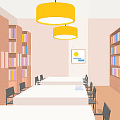Library interior with tables, chairs, bookcases, lights. Perspective view. Empty space. Illustration of reading room. Warm colors. Beige, yellow, brown. Scene for design. Square composition. Vector.