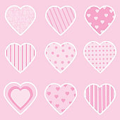 Valentine illustration with pink loves shape suitable for Valentine's day sticker set