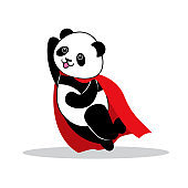 Panda dressed like superhero with capes.