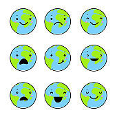 Set of emotions of the earth