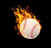 Fire sports ball effect isolated on black.