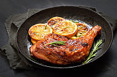 Barbecue chicken leg and roasted lemon