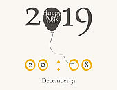 2019 Happy New Year or Christmas background creative design for your greetings card, flyers, invitation, posters, brochure, banners, calendar