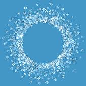 Frame or border of random scatter snowflakes