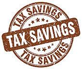 tax savings brown grunge stamp