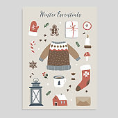 Winter essentials. Christmas greeting card. Set of cute winter lifestyle and food icons. Knitted sweater, glove, Santa socks, gift box and gingerbread cookies. Vintage flat design. Isolated vectors