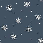 Simple blue festive seamless pattern with hand drawn white snowflakes. Christmas winter design. With falling snowVector illustration background.