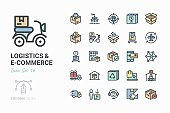 Line icons - Logistics & e-connerce